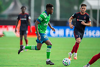LAKE BUENA VISTA, FL - JULY 14: Kelvin Leerdam #18 of the Seattle Sounders dribbles the ball during a game between Seattle Sounders FC and Chicago Fire at Wide World of Sports on July 14, 2020 in Lake Buena Vista, Florida.