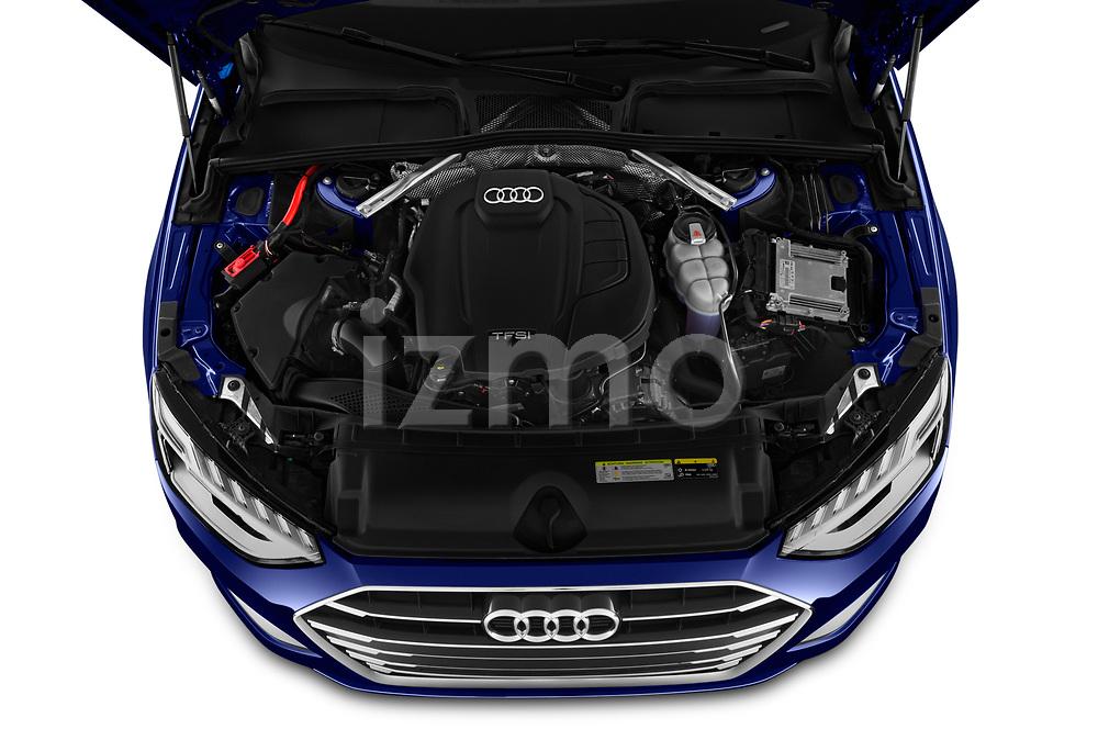 Car stock 2020 Audi A4 Advanced 4 Door Sedan engine high angle detail view