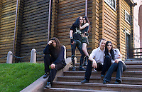 The Gothic life of teenagers in black dress at metro on steps in Kiev Ukraine as alternative lifestyle