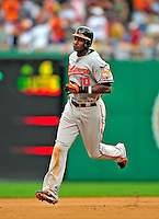 24 May 2009: Baltimore Orioles' center fielder Adam Jones rounds the bases after hitting a two-run homer in the seventh inning against the Washington Nationals at Nationals Park in Washington, DC. The Nationals rallied to defeat the Orioles 8-5 and salvage a win in their interleague series. Mandatory Credit: Ed Wolfstein Photo