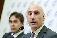 The coach of the national soccer team of Spain, Julen Lopetegui (l) with RFEF's President Luis Rubiales, during the signing of the renewal of his contract until 2020. May 22,2018. (ALTERPHOTOS/Acero) /NortePhoto.com