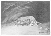 Wolf adopting human child  2 of 5 / Harry B Neilson Badminton magazine 1895 / 1895