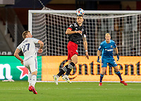 WASHINGTON, DC - MAY 13: Frederic Brillant #13 of D.C. United heads the ball during a game between Chicago Fire FC and D.C. United at Audi FIeld on May 13, 2021 in Washington, DC.