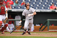 Maryland Terrapins Nick Dunn (39) swings during the Big Ten Tournament game against the Indiana Hoosiers at TD Ameritrade Park on May 25, 2016 in Omaha, Nebraska.  Maryland  won 5-3.  (Dennis Hubbard/Four Seam Images)