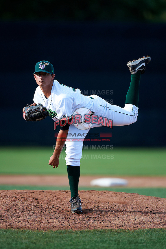Jamestown Jammers pitcher Patrick Merkling #34 during game one of a NY-Penn League doubleheader against the Batavia Muckdogs at Russell Diethrick Park on September 5, 2012 in Jamestown, New York.  Jamestown defeated Batavia 1-0.  (Mike Janes/Four Seam Images)