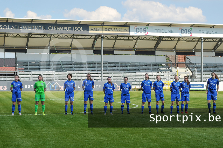 line-up KRC Genk ( Sien Vandersanden (10) , goalkeeper Joséphine Delvaux (1) , Lotte Van Den Steen (15) , Sterre Gielen (14) , Fleur Pauwels (66) , Silke Sneyers (2) , Gwen Duijsters (13) , Jorien Voets (20) , Luna Vanhoudt (43) , Emily Steijvers (33) , Hanne Merkelbach (25) ) pictured before a female soccer game between Eendracht Aalst and Racing Genk on the 10 th and last matchday of play off 2 of the 2020 - 2021 season of Belgian Scooore Womens Super League , Saturday 29 st of May 2021  in Aalst , Belgium . PHOTO SPORTPIX.BE | SPP | STIJN AUDOOREN
