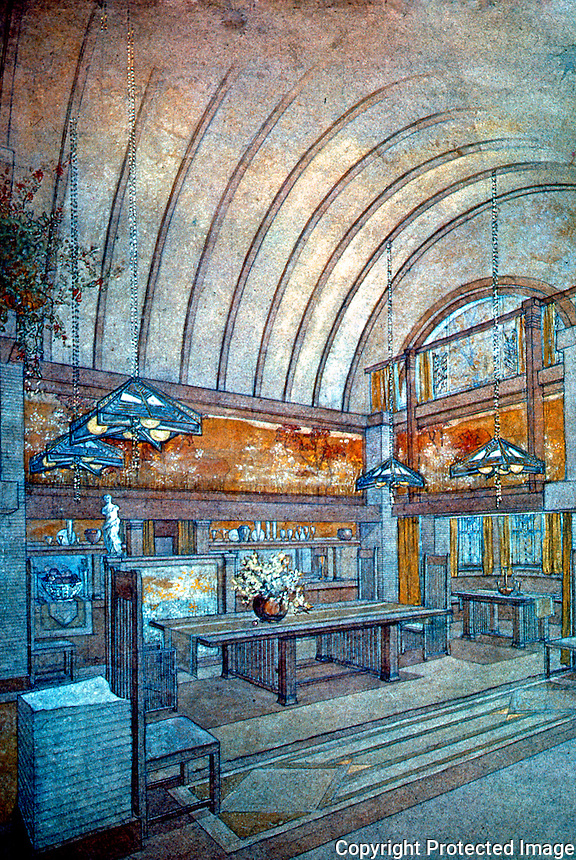 F.L. Wright: Drawing of Dining Room in Dana House. Pencil, pastels & washes on brown paper.  Photo '84.
