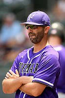 Head coach Brett Harker (31) of the Furman Paladins in a game against the UNC Greensboro Spartans at the Southern Conference Baseball Championship on Saturday, May 27, 2017, at Fluor Field at the West End in Greenville, South Carolina. UNCG won, 12-8. (Tom Priddy/Four Seam Images)