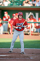 Richard Fecteau (22) of the Orem Owlz bats against the Ogden Raptors in Pioneer League action at Lindquist Field on June 21, 2017 in Ogden, Utah. The Owlz defeated the Raptors 16-5. This was Opening Night at home for the Raptors.  (Stephen Smith/Four Seam Images)