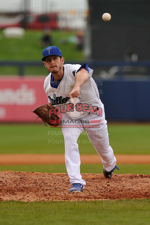 Tulsa Drillers Grant Dayton (23) throws during the game against the Northwest Arkansas Naturals at Oneok Field on May 2, 2016 in Tulsa, Oklahoma.  Northwest Arkansas won 9-6.  (Dennis Hubbard/Four Seam Images)