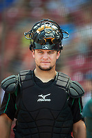 Dayton Dragons catcher Chris Okey (27) during a game against the Cedar Rapids Kernels on July 24, 2016 at Perfect Game Field in Cedar Rapids, Iowa.  Cedar Rapids defeated Dayton 10-6.  (Mike Janes/Four Seam Images)