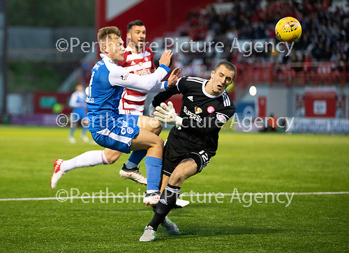 Hamilton Accies v St Johnstone…08.05.18…  New Douglas Park    SPFL<br />George Williams is taken out by Accies keeper Ryan Fulton for a penalty<br />Picture by Graeme Hart. <br />Copyright Perthshire Picture Agency<br />Tel: 01738 623350  Mobile: 07990 594431