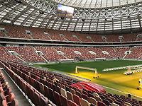 28th August 2017, Moscow, Russia; A view of the inside of the Luzhniki Stadium in Moscow, Russia. The Luzhniki is the most important stadium of the football World Cup 2018 in Russia. Since 2013 it has been renovated extensively.