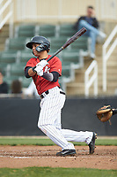 Ramon Beltre (1) of the Kannapolis Intimidators follows through on his swing against the Rome Braves at Kannapolis Intimidators Stadium on April 7, 2019 in Kannapolis, North Carolina. The Intimidators defeated the Braves 2-1. (Brian Westerholt/Four Seam Images)