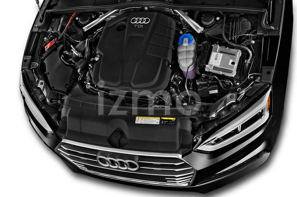 Car stock 2017 Audi A5 Sportback Premium 5 Door Hatchback engine high angle detail view