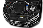 Car stock 2017 Audi A5 Sportback Premium 5 Door Hatchback engine high angle detail view