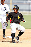 July 13, 2009:  Catcher Ramon Cabrera of the GCL Pirates during a game at Tiger Town in Lakeland, FL.  The GCL Pirates are the Gulf Coast Rookie League affiliate of the Pittsburgh Pirates.  Photo By Mike Janes/Four Seam Images