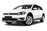 Stock pictures of low aggressive front three quarter view of 2015 Volkswagen Golf Alltrack 5 Door Wagon Low Aggressive