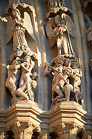 Tympanum of central west portal: Scenes of the Damned in Hell Last  Day of Judgement, supported by an array of saints.  Gothic Cathedral of Notre-Dame, Amiens, France