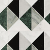 Arbus Medium, a hand-cut stone mosaic, shown in polished Calacatta Radiance, Wujan Jade, Nero Marquina, Carrara, and Kay's Green, is part of the Palazzo collection by New Ravenna.