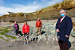 Councillor Michael Cahill with locals l-r; Gerry Kennedy, Grace King & Philip O'Sullivan at the White Strand Cahersiveen where costal erosion is becoming a serious issue.