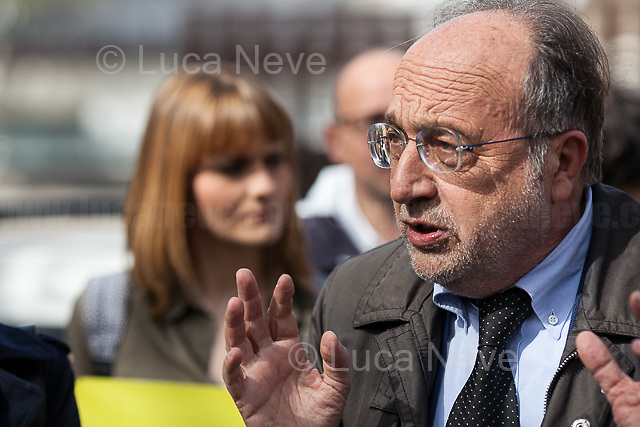 """Giuseppe Giulietti (Presidente della Federazione Nazionale Stampa Italiana FNSI - President of the Italian National Press Federation).<br /> <br /> Rome, 17/04/2018. Today, journalists and their representatives, organizations, and members of the public gathered outside the Rome's Courts of Justice in Piazzale Clodio to protest against the proposal of the preliminary investigations Judge to close and archive the investigations and the proceedings into the murder of the RAI TG3 (State broadcaster Rai's third channel) journalist Ilaria Alpi and her camera operator Miran Hrovatin, killed in circumstances still to be clarified on 20 March 1994 in Mogadishu, Somalia. The demonstration called """"Noi non archiviamo il caso di Ilaria Alpi e Miran Hrovatin"""" (We [don't close and] archive the case of Ilaria Alpi & Miran Hrovatin) was supported by Libera, LiberaInformazione, FNSI (Federazione Nazionale della Stampa Italiana - Italian Trade Union Of Journalists), Usigrai, TG3, Cnogm, Articolo21, Rete NoBavaglio, Amnesty International Italy. The demonstration was attended, amongst others, by: Luciana Alpi (Mother of Ilaria Alpi), Hashi Omar Hassan (The innocent man who was wrongfully sentenced and spent 17 years in prison for complicity in the murder of Italian journalist Ilaria Alpi), Paolo Borrometi (Sicilian journalist who has to live under police escort/protection because a Catania mafia clan planned to kill him due to his journalistic work and investigations about mafia and corruption – for more info please click here: https://bit.ly/2HckBvn).<br /> <br /> For more info about Alpi-Hrovatin case please click here: http://www.ilariaalpi.it/ & https://bit.ly/2Hu0Y5o (In this article you can also find news about Hashi Omar Hassan) & https://bit.ly/2HN2z4c (Ilaria Alpi, Wikipedia) & https://bit.ly/2qGeeui (Miran Hrovatin, Wikipedia) & https://bit.ly/2Hg1yk4 (The Herald, Scotland) & https://bit.ly/2HbSSeg (ANSA – 17.04.18)<br /> <br /> For a video of the event by Radio Radicale click"""
