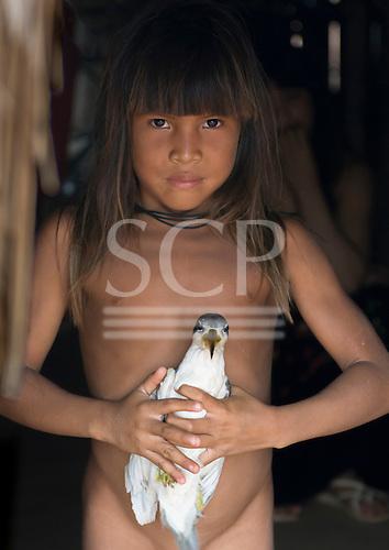 Xingu Indigenous Park, Mato Grosso State, Brazil. Aldeia Matipu (Matipu). Asata Matipu, daughter of the Cacique holding a pet bird.