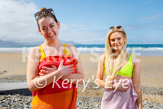 After a swim in Banna on Friday, l to r: Grace Madden and Rachel Daly.