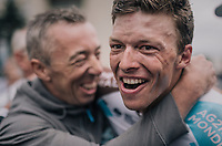 a super happy Oliver Naesen (BEL/AG2R-LaMondiale) is hugged after becoming the 2017 Belgian National Champion<br /> <br /> 2017 National Championships Belgium - Elite Men - Road Race (NC)<br /> 1 Day Race: Antwerpen > Antwerpen (233km)