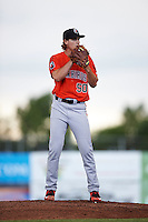 Aberdeen IronBirds starting pitcher Cody Sedlock (50) gets ready to deliver a pitch during a game against the Batavia Muckdogs on July 15, 2016 at Dwyer Stadium in Batavia, New York.  Aberdeen defeated Batavia 4-2.  (Mike Janes/Four Seam Images)