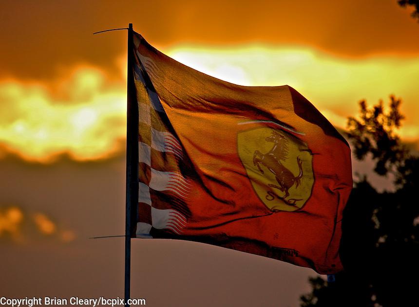 Ferrari flag at the 12 Hours of Sebring, Sebring International Raceway, Sebring, FL, March 2014.  (Photo by Brian Cleary/www.bcpix.com)