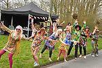 Colourful fans wait for the race before the 116th edition of Paris-Roubaix 2018. 8th April 2018.<br /> Picture: ASO/Bruno Bade | Cyclefile<br /> <br /> <br /> All photos usage must carry mandatory copyright credit (© Cyclefile | ASO/Bruno Bade)