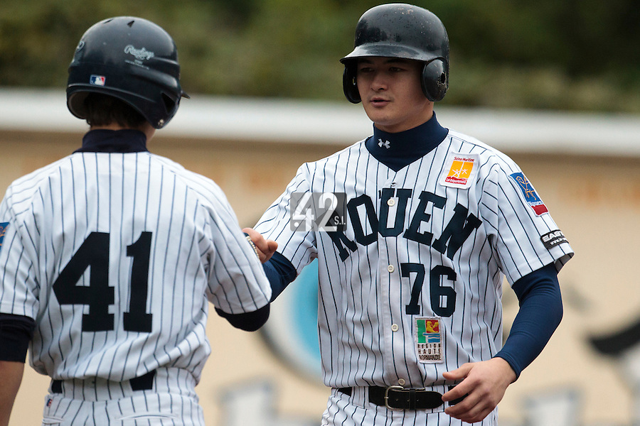 23 October 2010: Kenji Hagiwara of Rouen is seen during Savigny 8-7 win (in 12 innings) over Rouen, during game 3 of the French championship finals, in Rouen, France.