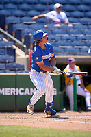 Memphis Tigers Alec Trela (29) hits a home run during a game against the East Carolina Pirates on May 25, 2021 at BayCare Ballpark in Clearwater, Florida.  Memphis defeated ECU 11-1 in the opening game of the American Athletic Conference Tournament.  (Mike Janes/Four Seam Images)