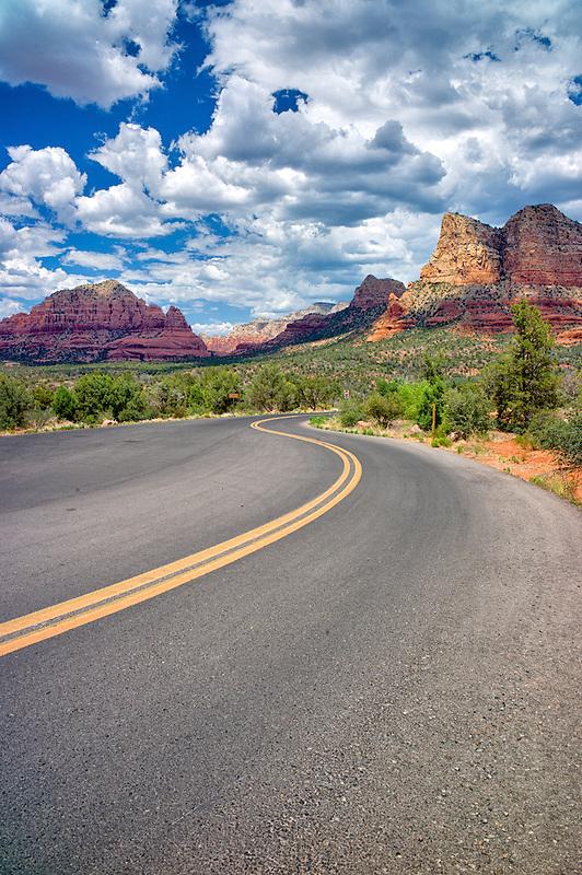 Road with clouds. Sedona, Arizona