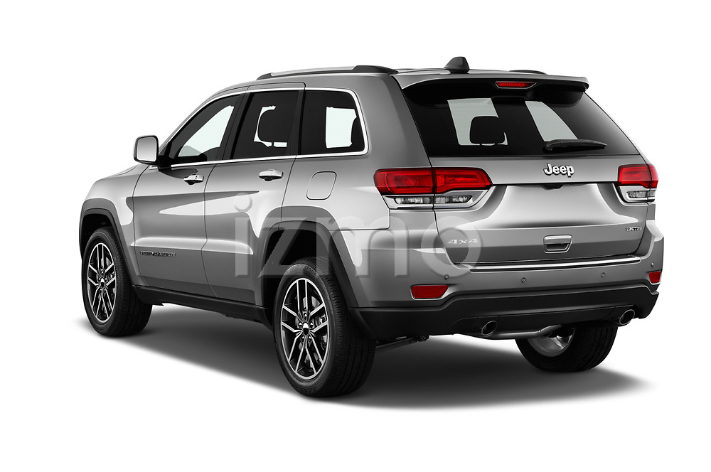 Car pictures of rear three quarter view of a 2018 Jeep Grand-Cherokee Limited 5 Door SUV angular rear