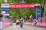 World Champion Filippo Ganna (ITA) Ineos Grenadiers crosses the line and wins Stage 1 of the 2021 Giro d'Italia, and individual time trial running 8.6km around Turin, Italy. 8th May 2021.  <br /> Picture: LaPresse/Massimo Paolone   Cyclefile<br /> <br /> All photos usage must carry mandatory copyright credit (© Cyclefile   LaPresse/Massimo Paolone)