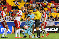 Harrison, NJ - Thursday Sept. 15, 2016: Aurelien Collin, Rodolfo Zelaya, Oscar Reyna during a CONCACAF Champions League match between the New York Red Bulls and Alianza FC at Red Bull Arena.