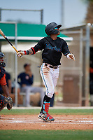 GCL Marlins Victor Mesa Jr. (9) bats during a Gulf Coast League game against the GCL Astros on August 8, 2019 at the Roger Dean Chevrolet Stadium Complex in Jupiter, Florida.  GCL Marlins defeated GCL Astros 5-4.  (Mike Janes/Four Seam Images)