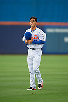St. Lucie Mets shortstop Andres Gimenez (12) warms up before the first game of a doubleheader against the Charlotte Stone Crabs on April 24, 2018 at First Data Field in Port St. Lucie, Florida.  St. Lucie defeated Charlotte 5-3.  (Mike Janes/Four Seam Images)