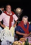 EMILIO FEDE CON  UMBERTO MARZOTTO <br /> MATRIMONIO SIMONA FEDE E VITTORIO MARZOTTO - CAPRI 1986