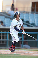Carlos Correa #1 of the Lancaster JetHawks bats against the Bakersfield Blaze at The Hanger on May 13, 2014 in Lancaster California. Lancaster defeated Bakersfield, 1-0. (Larry Goren/Four Seam Images)