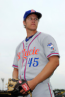 St. Lucie Mets pitcher Noah Syndergaard #45 poses for a photo before a game against the Bradenton Marauders on April 12, 2013 at McKechnie Field in Bradenton, Florida.  St. Lucie defeated Bradenton 6-5 in 12 innings.  (Mike Janes/Four Seam Images)