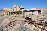 The Las Vegas Tonopah Railroad Depot in Rhyolite, Nevada, was completed in 1909 at a cost of $130,000. The LV & TR was one of three railroads that served Rhyolite during its boom years between 1905 and 1912. Photographed 03/08