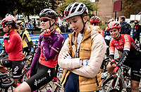 Jolien d'Hoore (BEL/SD Worx), who is about to start her very last pro race, and Cecilie Uttrup Ludwig (DEN/FDJ Nouvelle Aquitaine Futuroscope) in conversation at the race start in Denain<br /> <br /> Inaugural Paris-Roubaix Femmes 2021 (1.WWT)<br /> One day race from Denain to Roubaix (FRA)(116.4km)<br /> <br /> ©kramon
