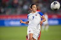 CARSON, CA - FEBRUARY 07: Melissa Herrera #7 of Costa Rica heads a ball during a game between Canada and Costa Rica at Dignity Health Sports Complex on February 07, 2020 in Carson, California.