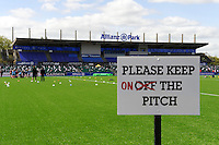 20130512 Copyright onEdition 2013©.Free for editorial use image, please credit: onEdition..Please keep on the pitch signage before the Premiership Rugby semi final match between Saracens and Northampton Saints at Allianz Park on Sunday 12th May 2013 (Photo by Rob Munro)..For press contacts contact: Sam Feasey at brandRapport on M: +44 (0)7717 757114 E: SFeasey@brand-rapport.com..If you require a higher resolution image or you have any other onEdition photographic enquiries, please contact onEdition on 0845 900 2 900 or email info@onEdition.com.This image is copyright onEdition 2013©..This image has been supplied by onEdition and must be credited onEdition. The author is asserting his full Moral rights in relation to the publication of this image. Rights for onward transmission of any image or file is not granted or implied. Changing or deleting Copyright information is illegal as specified in the Copyright, Design and Patents Act 1988. If you are in any way unsure of your right to publish this image please contact onEdition on 0845 900 2 900 or email info@onEdition.com
