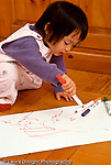 19 month old toddler girl art activity drawing scribbling with marker vertical