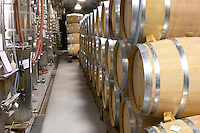 Domaine de l'Aigle. Limoux. Languedoc. Barrel cellar. Stainless steel fermentation and storage tanks. Pumping tubes. France. Europe.