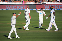 NZ's Tom Blundell congratulates Kyle Jamieson for dismissing Jason Holder during day two of the second International Test Cricket match between the New Zealand Black Caps and West Indies at the Basin Reserve in Wellington, New Zealand on Friday, 11 December 2020. Photo: Dave Lintott / lintottphoto.co.nz
